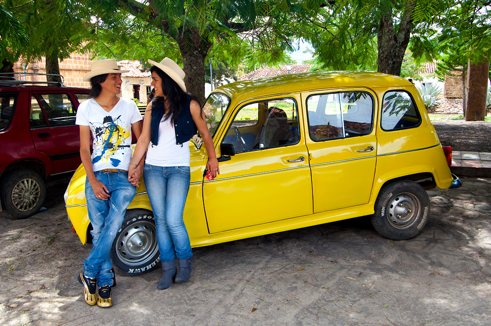 Colombia, Guane, Santander Province, Colombian Couple, Model Released, Popular Classic Renault 4