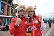 Wales fans wearing sheep hats outside Twickenham Stadium before k/o. Rugby World Cup 2015 quarter final match, South Africa v Wales at Twickenham Stadium in London, England  on Saturday 17th October 2015.<br /> pic by  John Patrick Fletcher, Andrew Orchard sports photography.