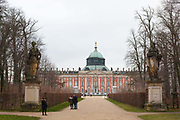 The New Palace is in the Sans Soucci Palace complex in Potsdam. Completed in 1769 under the rule of Frederick the Great it is seen as the last great Prussian Baroque Palace. Potsdam, Brandenburg, Germany.