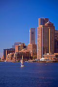 Image of the downtown financial district and skyline of Boston, Massachusetts from inner Boston Harbor, New England by Randy Wells