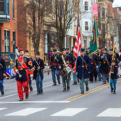York, PA - March 12, 2016: A group of Civil War reenactors march in the annual Saint Patrick's Day Parade in the City of York, Pennsylvania.