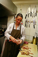 Burgundy, France..for story by Eric Asimov concerning a number of young, excellent winemakers..Fabienne Escoffier, the chef of Ma Cuisine, which she owns in Beaune with her husband Pierre, who is the host and wine  .wine steward...Photo by Owen Franken for the NY Times..May 27, 2008