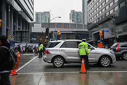 Security forces and police patrol outside the Air Canada Centre in Toronto, ON, Canada, Wednesday, April 25, 2018. Fans attending the tailgate party in Maple Leaf Square will be met with increased security, including road closures around the arena. Photo by Galit Rodan/CP/ABACAPRESS.COM