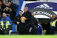 Jose Mourinho, the Chelsea Manager holds onto the match ball. Barclays Premier league match, Chelsea v AFC Bournemouth at Stamford Bridge in London on Saturday 5th December 2015.<br /> pic by John Patrick Fletcher, Andrew Orchard sports photography.