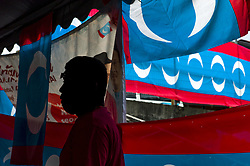 April 17, 2018 - Kuala Lumpur, Malaysia - Campaign flags of Malaysia's opposition party, Parti Keadilan Rakyat(PKR, People's Justice Party) fly in Kuala Lumpur, Malaysia on April 17, 2018. Malaysia goes to the polls on May 9 for the 14th General Election. (Credit Image: © Chris Jung/NurPhoto via ZUMA Press)