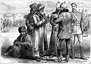 Second Anglo-Afghan War (1878-1880): General Frederick Roberts (1832-1914) at his headquarters at Sherpore Cantonments, February 1880. Wood engraving March 1880