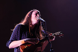 © Licensed to London News Pictures. 08/11/2012. London, UK.   .Camilla Staveley-Taylor  of The Staves performing live at Wembley Arena supporting Bon Iver. The Staves are an acoustic Folk Rock trio of sisters from Watford, England - Emily Staveley-Taylor - (vocals), Jessica Staveley-Taylor (vocals, guitar), .Camilla Staveley-Taylor (vocals, ukulele).   Photo credit : Richard Isaac/LNP