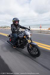Custom bike builder Jesse Rooke on a new 2017 Harley-Davidson 750 Street Rod rides A1A near Flagler Beach during Daytona Beach Bike Week. FL. USA. Tuesday, March 14, 2017. Photography ©2017 Michael Lichter.
