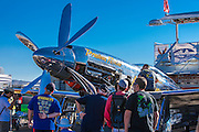 """Precious Metal"", a highly modified P-51 Mustang with counter-rotating propellers, in the pits at the 2012 Reno Air Races."