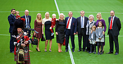 LIVERPOOL, ENGLAND - Friday, October 13, 2017: Kenny Dalglish with his family at a ceremony to rename Liverpool FC's Centenary Stand the Kenny Dalglish Stand. Paul, Lauren, Lindsey, Kelly. (Pic by David Rawcliffe/Propaganda)