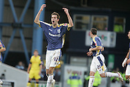 Cardiff's Roger Johnson celebrates his goal scored just before half-time. Coca Cola championship, Cardiff city v Preston NE at Ninian Park on Sat 6th Dec 2008. pic by Andrew Orchard,Andrew Orchard sports photography