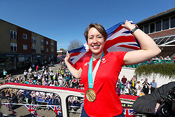Lizzy Yarnold in Swanley during the victory bus tour through Sevenoaks, Kent.