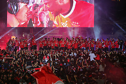 May 13, 2017 - Lisbon, Lisbon, Portugal - Benfica players celebrating with his supporters Winning the League Title after the match between SL Benfica and Vitoria SC for the Portuguese Primeira Liga at Marques de Pombal Square on May 13, 2017 in Lisbon, Portugal. (Credit Image: © Dpi/NurPhoto via ZUMA Press)