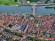 Nederland, Gelderland, Kampen, 21–06-2020; de stad Kampen, gelegen aan rivier de IJssel. Zicht op de binnenstad met onder andere de Nieuwe toren en de Stadsbrug over de rivier.<br /> The city of Kampen, situated on the river IJssel. View of the city center including the New Tower and the City Bridge over the river.<br /> <br /> luchtfoto (toeslag op standaard tarieven);<br /> aerial photo (additional fee required)<br /> copyright © 2020 foto/photo Siebe Swart
