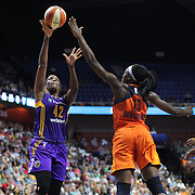 UNCASVILLE, CONNECTICUT- JULY 15:  Jantel Lavender #42 of the Los Angeles Sparks shoots over Chiney Ogwumike #13 of the Connecticut Sun during the Los Angeles Sparks Vs Connecticut Sun, WNBA regular season game at Mohegan Sun Arena on July 15, 2016 in Uncasville, Connecticut. (Photo by Tim Clayton/Corbis via Getty Images)