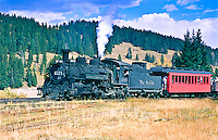 Cumbres & Toltec Scenic Railroad.  The train near the summit of 10,015 ft. Cumbres Pass.
