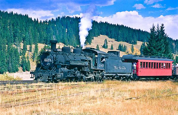 Cumbres & Toltec Scenic Railroad.  The train near the summit of 10,015 ft. Cumbres Pass.