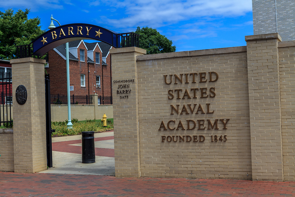 Annapolis, MD, USA - May 20, 2012: The United States Naval Academy Entrance Gate in Annapolis Maryland