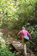 Man trekking through Nyungwe National Park, Rwanda