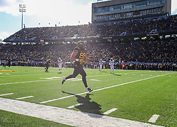 Nov 10, 2018; Morgantown, WV, USA; West Virginia Mountaineers tight end Trevon Wesco (88) catches a pass for a touchdown during the second quarter against the TCU Horned Frogs at Mountaineer Field at Milan Puskar Stadium. Mandatory Credit: Ben Queen-USA TODAY Sports