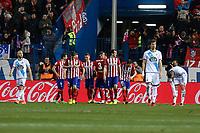 Atletico de Madrid´s players celebrate Antoine Griezmann goal during 2015-16 La Liga match between Atletico de Madrid and Deportivo de la Coruna at Vicente Calderon stadium in Madrid, Spain. March 12, 2016. (ALTERPHOTOS/Victor Blanco)