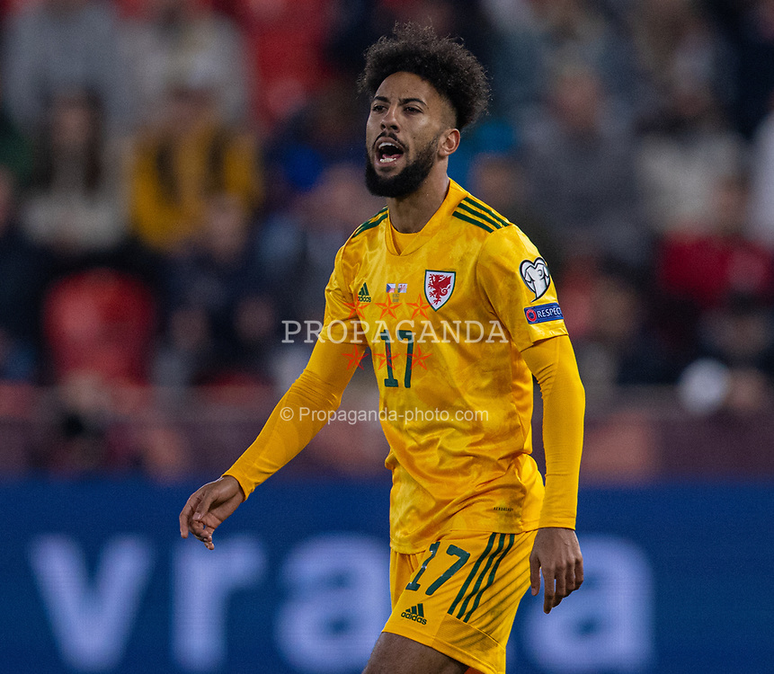 PRAGUE, CZECH REPUBLIC - Friday, October 8, 2021: Wales' substitute Sorba Thomas during the FIFA World Cup Qatar 2022 Qualifying Group E match between Czech Republic and Wales at the Sinobo Stadium. The game ended in a 2-2 draw. (Pic by David Rawcliffe/Propaganda)