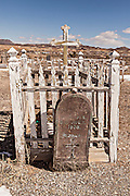 Old cemetery in former gold mining boomtown turned ghost town Goldfield, Nevada, USA