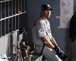 October 25, 2017 - Los Angeles, California, U.S. - Houston Astros starting pitcher Justin Verlander in the fourth inning of game two of a World Series baseball game against the Los Angeles Dodgers at Dodger Stadium on Wednesday, Oct. 25, 2017 in Los Angeles. Houston Astros won 7-6 in 10 innings. (Photo by Keith Birmingham, Pasadena Star-News/SCNG) (Credit Image: © San Gabriel Valley Tribune via ZUMA Wire)