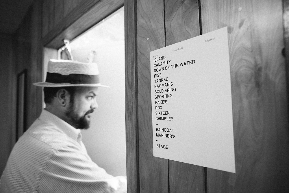 Chris Funk of the Decemberists backstage at Edgefield, 2011.