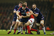 Hamish Watson of Scotland is held up. Wales v Scotland, NatWest 6 nations 2018 championship match at the Principality Stadium in Cardiff , South Wales on Saturday 3rd February 2018.<br /> pic by Andrew Orchard, Andrew Orchard sports photography