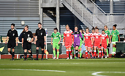 Match officials lead Bristol Academy and Sunderland players onto the pitch at Stoke Gifford Stadium - Mandatory by-line: Paul Knight/JMP - 25/07/2015 - SPORT - FOOTBALL - Bristol, England - Stoke Gifford Stadium - Bristol Academy Women v Sunderland AFC Ladies - FA Women's Super League