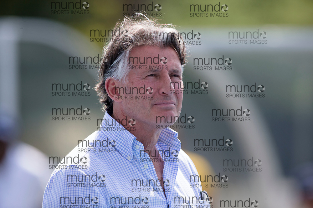 Toronto, ON -- 11 August 2018: Lord Sebastian Coe, IAAF president at the 2018 North America, Central America, and Caribbean Athletics Association (NACAC) Track and Field Championships held at Varsity Stadium, Toronto, Canada. (Photo by Sean Burges / Mundo Sport Images).