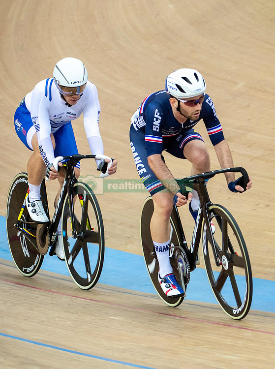 January 26, 2019 - Hong Kong, Hong Kong SAR, China - Mens Omnium IV. Australias Cameron Meyers takes gold with New Zealands Campbell Stewart taking Silver and France's Benjamin Thomas (pictured R))  takes silver.UCI Track Cycling World Cup Hong Kong 2019, Qualifiers Leg VI at the Hong Kong Velodrome in Tseung Kwan O ,Kowloon (Credit Image: © Jayne Russell/ZUMA Wire)