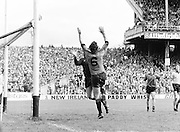 The Kerry goalie and a Dublin player jump for the ball near the Kerry goal during the Kerry v Dublin All Ireland Senior Gaelic Football Final in Croke Park on the 24th of September 1978. Kerry 5-11 Dublin 0-9.