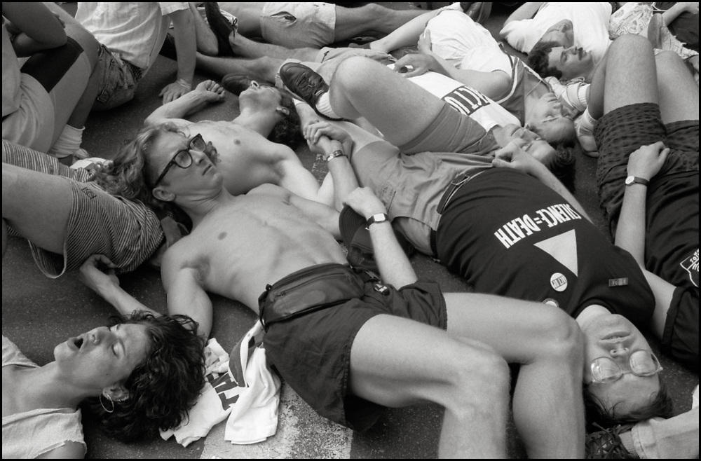 ACT UP has a die-in during the Gay Pride Parade in New York City in June, 1990.