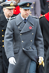 © Licensed to London News Pictures. 12/11/2017. London, UK. PRINCE WILLIAM, DUKE OF CAMBRIDGE attends a Remembrance Day Ceremony at the Cenotaph war memorial in London, United Kingdom, on November 13, 2016 . Thousands of people honour the war dead by gathering at the iconic memorial to lay wreaths and observe two minutes silence. Photo credit: Ray Tang/LNP