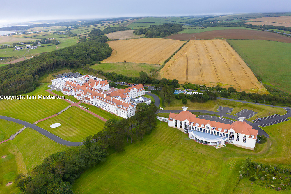 Aerial view from drone of hotel at Trump Turnberry golf course in Ayrshire, Scotland, UK