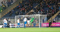 Morton's keeper Derek Gaston saves from Falkirk's Mark Beck. Falkirk 1 v 1 Morton, Scottish Championship game today at The Falkirk Stadium.<br /> © Michael Schofield.