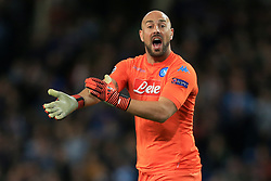 17th October 2017 - UEFA Champions League - Group F - Manchester City v Napoli - Napoli goalkeeper Pepe Reina appeals for a hand-ball - Photo: Simon Stacpoole / Offside.