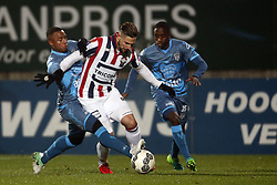 (L-R), Lerin Duarte of Heracles Almelo, Fran Sol of Willem II, Jamiro Monteiro Alvarenga of Heracles Almelo during the Dutch Eredivisie match between Willem II Tilburg and Heracles Almelo at Koning Willem II stadium on December 02, 2017 in Tilburg, The Netherlands