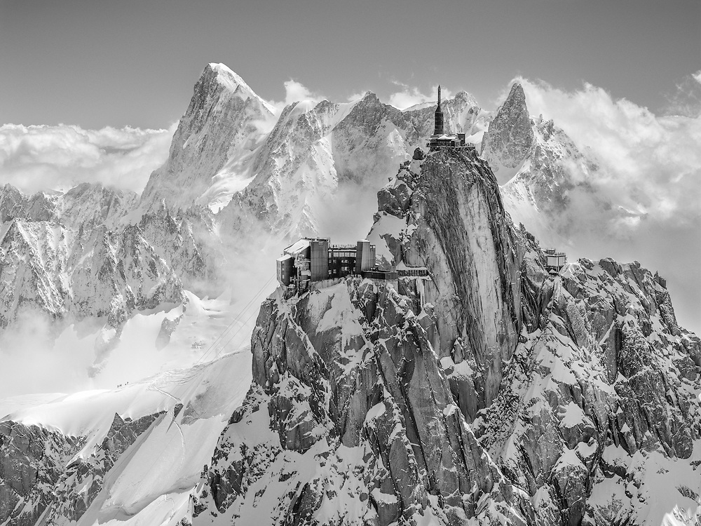 The Aiguille du Midi as seen during the filming of The Unrideables in Chamonix, France on May 24th, 2014.