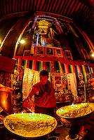 A giant Buddha statue, Tashilhunpo Monastery, Shigatse, the second largest city in Tibet (Xizang), China.