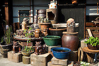 """Tokoname pottery town's famous """"Pottery Walk"""" passes by kilns, potters and ceramics embedded into the sidewalk and walls.  The Pottery Walk makes for a colorful stroll through one of Japan's most famous centers of ceramics and a nice day trip just outside Nagoya."""