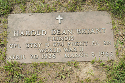 31 August 2017:   Veterans graves in Park Hill Cemetery in eastern McLean County.<br /> <br /> Harold Dean Bryant  Illinois Corporal BTRY D 674 PRCHT FA BN  World War II  April 20 1926  March 9 1966