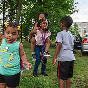 WASHINGTON, DC - JUNE 15: From left, Anari Brown, 2, Jaliyah Hewett, 5, India Perkins, 9, Sage Newman, 4, and Tahj Perkins, 5 play in Oxon Run Park in the Congress Heights neighborhood in Washington, DC, on June 15, 2020. (Photo by Craig Hudson for The Washington Post)