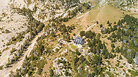 Aerial view of isolated house at rock landscape, Girona, Spain.