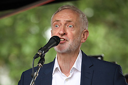 © Licensed to London News Pictures. 04/06/2019. London, UK. Leader of the Labour Party Jeremy Corbyn speaks at a demonstration on Whitehall, protesting against the President of the United States of America, who was in Downing Street having a meeting with British Prime Minister Theresa May as part of a state visit to the UK. Photo credit : Tom Nicholson/LNP