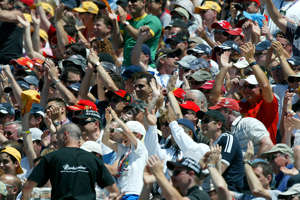 Spectators during qualifying for the 2004 Canadian Grand Prix at the Circuit Villeneuve in Montreal. Photo: Grand Prix Photo