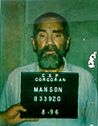 May 05, 1994 - Los Angeles, CA, USA - In October 12, 1969, CHARLES MANSON was arrested and charged with seven counts of murder and one conspiracy charge after it was discovered Manson ordered and directed his followers to commit murder for the Manson Family. He was convicted on the conspiracy charge on January 25, 1971 and sentenced to death. After the Supreme Court eliminated the death penalty in California in 1972, Charles Manson's sentence was commuted to life in prison. CHARLES MANSON was photographed by the California Department of Corrections in August 1996. (Credit Image: © ZUMA Press/ZUMAPRESS.com)