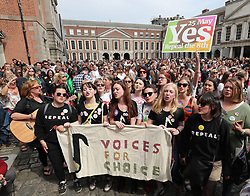 Yes campaigners wait at Dublin Castle for the result of the referendum on the 8th Amendment of the Irish Constitution which prohibits abortions unless a mother's life is in danger.